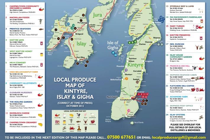 local produce food map, Kintyre, Islay and Gigha